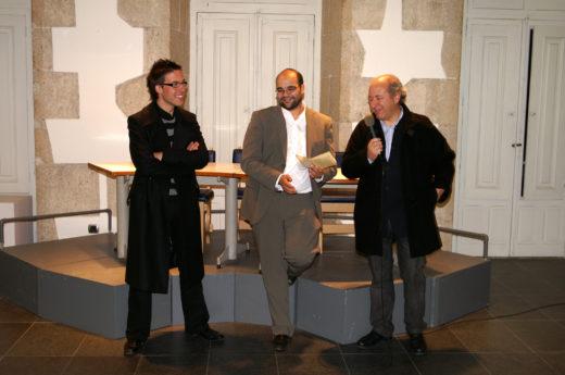 Vítor Nieves, Rubén Cela, e Benito Losada inaugurando a que foi a mostra de apertura no 2007